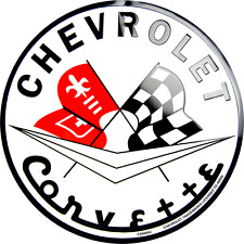 Chevrolet Corvette Embossed Circle Round Sign Made in the USA