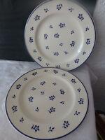 Lot de 2 assiettes plates ancienne faience decor fleur bleue vintage art deco