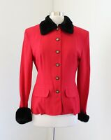 Vtg Joseph Ribkoff Red Black Faux Fur Collar Cuff Jacket Blazer Size 6 Holiday