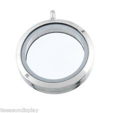 1 Stainless Steel Floating Living Memory Locket Pendant Silver Tone 3.6cmx3cm