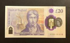 More details for england new £20 polymer note ture repeater number ac88 151515 uncirculated unc
