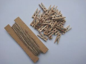 HOWAF 200pcs Mini Wooden Pegs 100m String