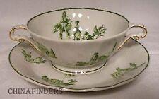 BERNARDAUD Limoges china BER446 GREEN Cream Soup Bowl & Saucer (Versailles)