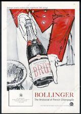 1958 Bollinger Brut Champagne 1952 bottle art vintage print ad