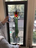 2 Stained Glass Panels Pair