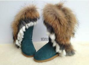 Women's Mid Calf Boots Snow Boots Round Toe Fox Fur Winter Boots Warm Shoes Pink