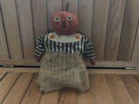 Primitive Pumpkin Stump Doll - black ticking dress - Fall/Halloween