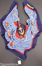 RALPH LAUREN WOMEN'S LADIES POLO SCARF WRAP SUMMER EQUESTRIAN NAUTICAL ANCHOR