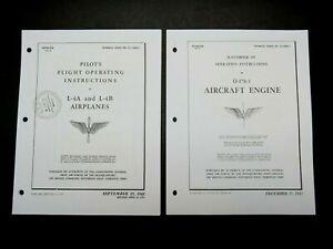 1942-43 AAF Piper Cub L-4 A/B Flight Manual & Cont O-170-3 65hp Engine Op Manual