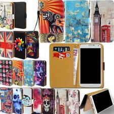 For Various Phones - Universal Leather Wallet Card Stand Flip Case Cover +Strap