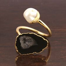 Unique Black Geode Druzy Keshi Pearl Gold Plated Double Stone Adjustable Ring
