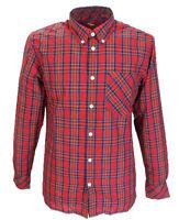 Merc Red Neddy Cotton Long Sleeved Retro Mod Button Down Shirts