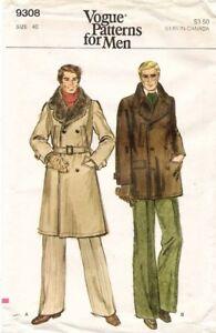 1970's VTG VOGUE Men's Coat Pattern 9308 Size 40 UNCUT
