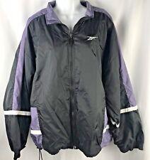 Vintage Reebok Windbreaker Jacket Mens Size XL Black Purple Retro 90's Zipper