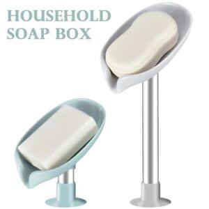 Leaf-shaped Soap Dish Box Soap Holder Drain Rack Bathroom Soap Perforated Free
