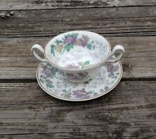 Vtg Wedgwood china bone cream soup cup and saucer, floral, made in England