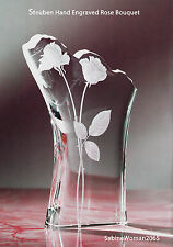 NEW in BOX STEUBEN Glass ROSE BOUQUET Hand ENGRAVED ornament HEART love romance