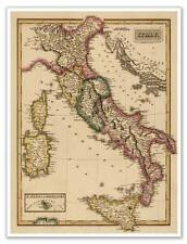 "LARGE Elegant World ITALIAN Map of ITALY circa 1822 Atlas Chart 18""x24"""