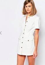 ASOS Lost Ink Denim Western Skort Playsuit White Button Up Summer Size 6 XS