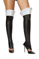White Space Girl Leggings - LW4739-Wht/Slvr-O/S - White/Silver