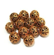 12 PCS 10MM SOLID COPPER BALI BEAD ANTIQUED COPPER B 691