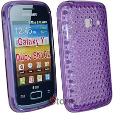Cover Custodia Per Samsung Galaxy Y Duos S6102 Silicone Gel Viola Diamond