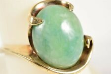 Magnificent Huge Green Jade Cabochon 14K Yellow Gold Ring Size 8