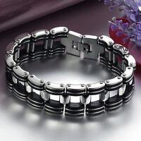 Sale Men Silver Stainless Steel Black Rubber Motorcycle Biker Chain Bracelet