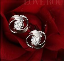 Silver Plated Earrings Ear Studs Piercing Rhinestone Gem Top Jewelry t