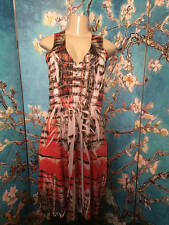 ONE WORLD L BROWN/CORAL ARTSY STUDDED V-NECK SLEEVELESS ABOVE KNEE LENGTH DRESS
