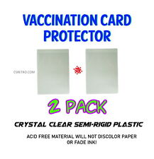 2x Cdc Vaccination Card Acid Free Clear Plastic Protector Holder Sleeve 3x4