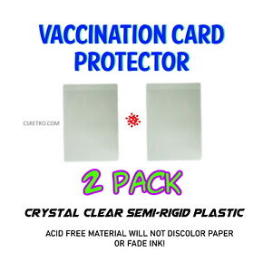 """2 Pack Vaccination Card Acid Free Clear Plastic Protector Holder Sleeve 3""""x4"""""""