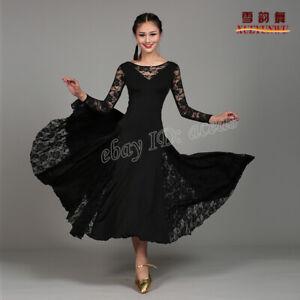 Women Modern Dance Dress Waltz Tango Foxtrot Long Skirts Ballroom Competition