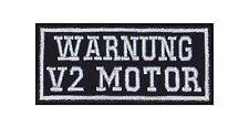 Warnung V2 Motor Biker Patches Aufnäher Rocker Bügelbild Kutte Motorrad Heavy