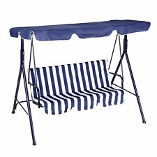 More details for hammock swing chair garden 3 seater adjustable canopy metal outdoor patio bench