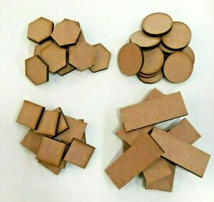 mdf bases war games role playing sets and scenery squares rounds ovals 2mm mdf