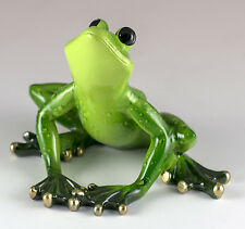 Green Frog Figurine 3 Inch High Resin Glossy Finish New In Box