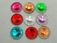 50 Mixed Color Acrylic Flatback Round Rhinestone Gems 18mm Embellishments