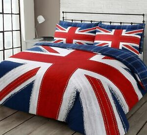Union Jack Checkered Stripes Reversible Blue Red Bedding Set Single Double King