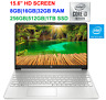 "2021 HP 15.6"" Screen Laptop i3-10110U (>i5-7200U), upto 4.1GHz,16GB RAM &1TB SSD"
