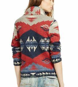 Ralph Lauren Denim Supply Aztec Indian Tribal Southwest Shawl Cardigan Sweater