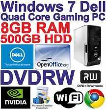 Windows 7 dell core 2 QUAD gioco Tower PC Computer - 8GB RAM - 500GB-HDMI