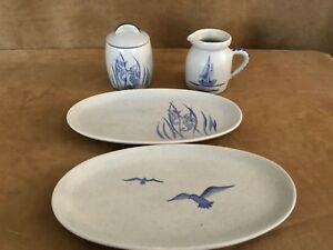 Ipswich crafts pottery beach theme cream sugar bowl set plates birds seahorse