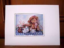 "Handmade CARTE D'ANNIVERSAIRE 8"" x 6"" - 3D DECOUPIS Picnic Bear Victoriana"