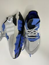 adidas Nite Jogger J Shoes Sneakers Youth Kid White And Blue Size 5 US EE6440