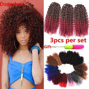 3pcs/Set 8 inch Afro Marlybob Crochet Hair Synthetic Mali Bob Braided Curly Hair