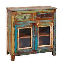 Commode au style vintage avec 2 portes et 2 tiroirs en bois massif pour le sa...