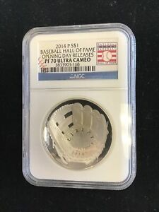 2014-P $1 Proof Baseball Hall of Fame Silver Dollar NGC PF70UC Opening Day
