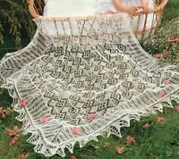 Delicate Lacy Trad. Shetland Christening Baby Shawl ~ 2 Ply Knitting Pattern