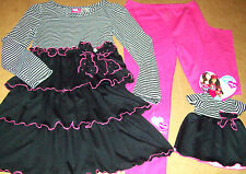 WHAT A DOLL 3PC BLACK & PINK LEGGINGS OUTFIT (7-8) + OUTFIT for a DOLL